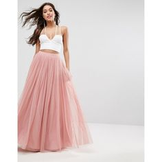 ASOS Tulle Maxi Prom Skirt ($78) ❤ liked on Polyvore featuring skirts, pink, tulle skirt, pink maxi skirt, high waist skirt, high waist long maxi skirt and long skirts