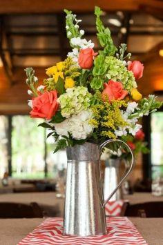 Galvanized Water Pitcher Vase $10