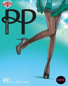 Pretty Polly Pretty Shimmer Tights with Silver Lurex on Either Black or Nude leg