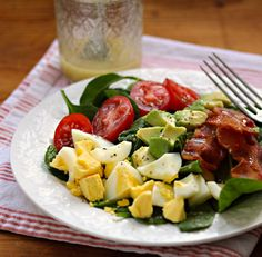 Spinach salad with honey mustard vinaigrette, a main dish for lunch or light supper.