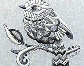 Whitework Digital download:   Zentangle Bird