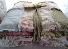 Shabby Chic Roses Rag Quilt Mary Rose, Moda, - blanket Cotton-backed NEW. $190.00, via Etsy.