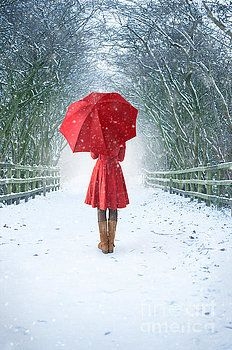 Woman With Red Umbrella In Snow by Lee Avison