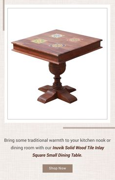 Bring some traditional warmth to your kitchen nook or dining room with our Inuvik Solid Wood Tile Inlay Square Small Dining Table. #diningroom #interiordesign #homedecor #interior #diningroomdecor #diningtable #furniture #home #design #decor #kitchen #homedesign #interiors #diningroominspo #furnituredesign #interiordesigner #diningroomdesign #dining #decoration #kitchendesign #table #interiorstyling #customfurniture #largetable #solidwood #diningroomdecor #squarediningtable squaretable