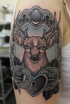 Reindeer in a Frame Locked Heart Tattoo By Phatt German