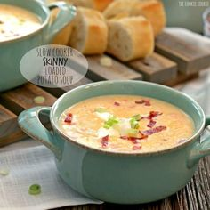 Slow Cooker Skinny Loaded Potato Soup, healthy comfort food! Making small changes in the healthy direction doesn't mean you have to sacrifice flavor YUM!