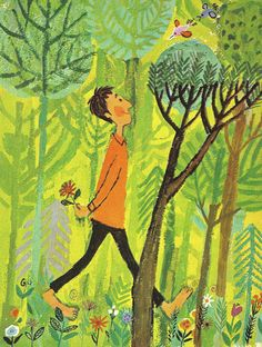 CHILDREN'S ILLUSTRATION summer walk in the forest