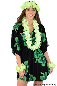 Ladies Green Hibiscus Kaftan with Lei Set - soft and comfortable beach cover up. Throw this delightful caftan over your bikinis or jeans for a day at the beach, cruising or casual wear. Lots of colours and patterns to choose from. #poncho #kaftan #bikini #beachcoverup #caftan #hibiscusparty #luau #luauparty #coverup #beachwear #cruise #cruisewear #luau #luauparty #luaupartycostume #fancydress #luaudress #hawaiiancostume