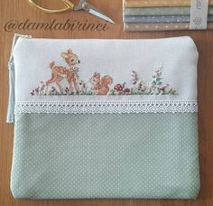 Cute Cross Stitch, Cross Stitch Animals, Deer Pattern, Baby Deer, Needlework, Projects To Try, Pouch, Embroidery, Sewing