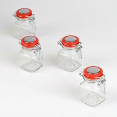 Keep all of your freshly-ground spices tasting great with this set of Red Top Spice Jars! The sealed lids will seal air-tight while the clear glass lets you see what's inside. #kirklands #CountryLivin