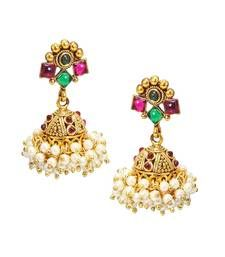 Buy Traditional & Beautiful Red & Green Pearl jhumka/Earring set for bridal Jewellery danglers-drop online