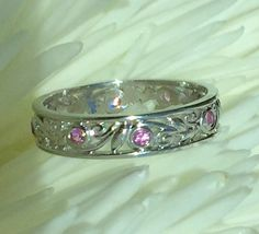 Daisy Flower Eternity Ring Diamond Wedding Band With Flowers Shape And Natural