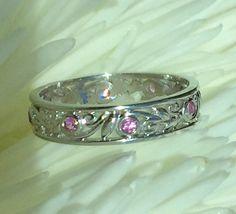 Wedding Band Vine And Leaves Eternity Feminine Ring Pink Shires Size 8 5