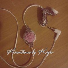 Purple and white bling headphones