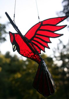 . 3D Cardinal Bird Suncatcher .on .
