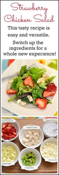 This recipe for Strawberry Chicken Salad is tasty, easy and versatile. With a few changes it can serve as a side dish or become the main dish for a meal.