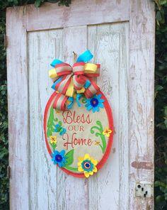 Bless Our Home Door Hanger, Spring Door Hanger, Burlap door hanger,Spring Door wreath,Spring Swag,Year Round door hanger,Summer Door hanger