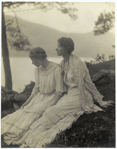 Two Women Under a Tree  By Alice M. Boughton (c.1910).  I see this all over the place as a post-mortem photo (they purport the woman on the left is dead).  Both these women are very much alive.