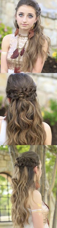Half Up and Half Down Hairstyles for Prom -Braided Half Up | Prom Hairstyles -Hairdos and Updo's for Short, Medium Length and Long hair - Great hair styles and Beauty for Prom Wedding Bride, Veils, Crown Braids, and Hair Accessories for Twists.
