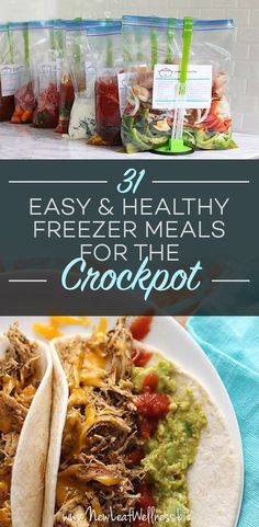31 Easy and Healthy Freezer Meals for the Crockpot. It's so hard to eat healthy during the holidays, here are 31 easy recipes! Healthy Freezer Meals, Dump Meals, Healthy Groceries, Make Ahead Meals, Easy Meals, Healthy Recipes, Crockpot Meals, Yummy Recipes, Freezer Cooking
