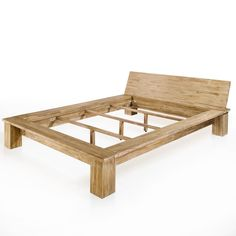 plain and sturdy low bed handmade of teak solid wood taper headboard no foot - Embrace Bed Frame
