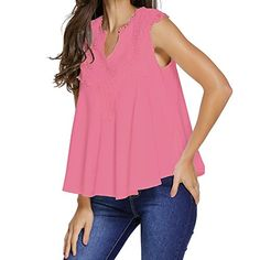 Shilanmei Women Sleeveless Lace Blouses Top TanksBright rosy redXXL *** Click image for more details.