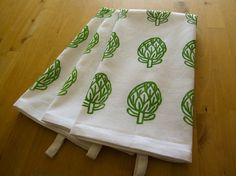 Honeyberry Studios on Antsquare: Hand Printed Cotton Tea Towel, Artichoke Hand Block Print Stamp Printing, Screen Printing, Printed Bags, Printed Cotton, Dish Towels, Tea Towels, Stamp Carving, Block Prints, Colorful Decor