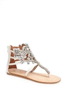 Jeffrey Campbell 'Prizzy' Sandal available at #Nordstrom - Never owned a flat gladiator sandal, but this one is so chic for Spring 2014!