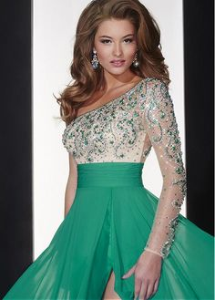 Fabulous Tulle & Silk-like Chiffon One-shoulder Neckline A-line Evening Dresses with Beadings & Rhinestones