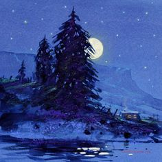 Moon Light - New Mexico Landscape Art Painting by Tom Perkinson