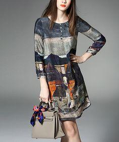 Vicky and Lucas Gray & Orange Houses Button-Front Silk Shift Dress - Women Orange House, India Fashion, Bohemian Fashion, Women's Fashion, Love Clothing, Western Dresses, International Fashion, So Little Time, Silk Dress