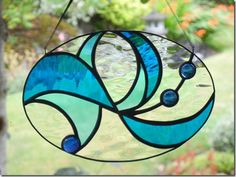 wave stained glass window small
