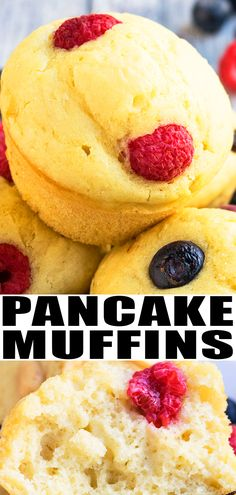 PANCAKE MUFFINS RECIPE- Quick, easy, homemade from scratch with simple ingredients. Soft, moist, fluffy, healthy. Perfect snack or breakfast on the go. Can be made mini size and also frozen. Top it off with raspberries, strawberries, banana, blueberries, chocolate chips. No Bisquick or Aunt Jemima pancake mix needed! From CakeWhiz.com #pancake #muffins #breakfast #snack #dessert #recipes