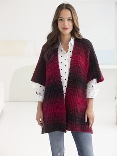 Crochet our beautiful ombre Free Spirit Topper with Lion Brand Scarfie! This yarn creates stunning gradients with ease! Free pattern calls for 4 balls of yarn (pictured in cranberry/black) and a size J-10 (6mm) crochet hook.