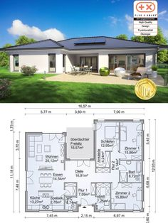 Bungalow House Modern Floor Plan in Uform with Hipped Roof Architecture – Detached House at Ground Level Build Prefabricated House SH 169 WB by ScanHaus Marlow – HausbauDirekt. Modern Floor Plans, Modern House Plans, Small House Plans, Prefabricated Houses, Bungalow House Design, Hip Roof, Roof Architecture, Facade House, House Exteriors