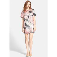 kate spade new york 'Regal Plumes' Print Metallic Jacquard Shift... (€145) ❤ liked on Polyvore featuring dresses