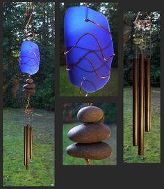 Wind Chime, Beach Glass, Stained Glass, Sea Glass, Stone, Copper, Windchimes, Wind Chimes, Suncatcher