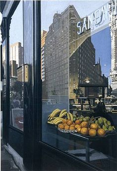 Richard Estes - Broadway Still Life (oil on canvas): great example of photorealism Photorealism, Hyperrealism Paintings, Illinois, Pop Art, Hyper Realistic Paintings, Create Photo, City Art, American Artists, Les Oeuvres