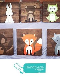 6 Woodland Animal Nursery Signs Nursery Decor Baby Shower Gift or Baby Decor Clever little fox nursery accessories from Amber's Wooden Boutique