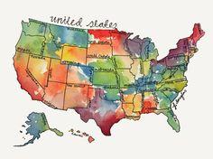 US map in watercolor