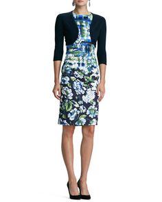 Cashmere-Silk Bolero & Sleeveless Mixed Floral-Print Dress by Oscar de la Renta at Neiman Marcus.