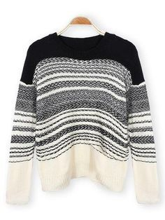 Casual Long Sleeve Pullover Ladies Hit Color Stripe Knitted Sweater