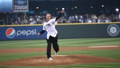 Former M's pitcher and two time All-Star Jaime Moyer throws out the first pitch in the M's 2013 home opener.