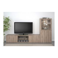 BESTÅ TV storage combination/glass doors - Lappviken/Sindvik gray stained walnut eff clear glass, drawer runner, push-open - IKEA