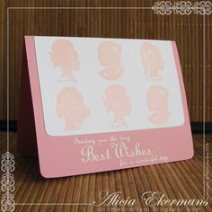 This pink & white card using silhouettes was created with Elegant Cameos from Woodware USA.