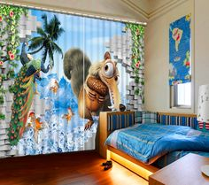 Curtains for living room Bedding room cartoon 3D Curtains Fashion 3d curtains 3D Window Curtains For Bedding room