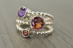 Carmine Rings, topaz amethyst garnet stacking rings  FEBRUARY BIRTHDAY on Etsy, $158.00