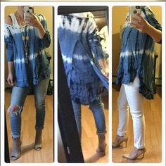 Tidal waves blue top Absolutely gorgeous top. Longer in the back. Light not heavy. Perfect for spring. Modeling L Tops
