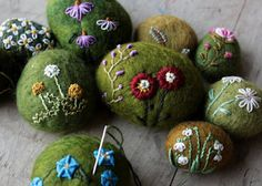 I think this is such a wonderful idea - felted and stitched stones! Brilliant tutorial at http://lilfishstudios.blogspot.com/2012/02/how-to-make-felted-stone.html