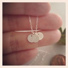 Tiny Three Initial Necklace - Mothers ,Best Friends,Sister Necklac - All Sterling Silver - Personalized discs